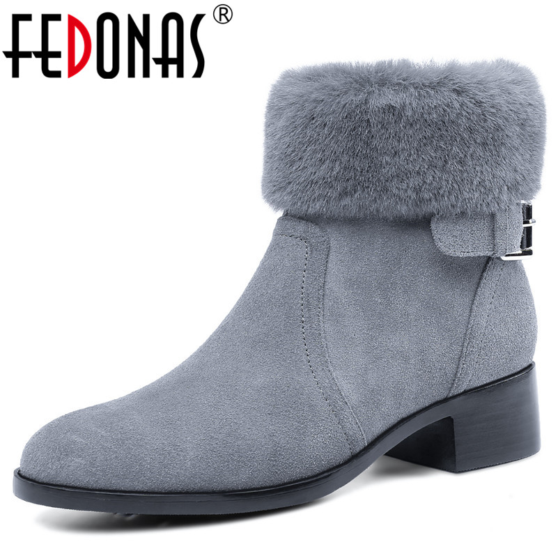 FEDONAS Fashion New Style Women High Heels Cow Suede Winter Snow Boots Zipper Short Martin Shoes Woman Basic Basic Boots fedonas new warm autumn winter snow shoes woman high heels zipper short martin boots retro punk motorcycle boots 2019 new shoes