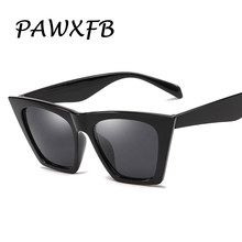 PAWXFB Trendy 2019 Cat Eye Sunglasses Mulheres Marca Designer Retro óculos de Sol Pretos UV400 Gradiente Óculos de Sol Do Vintage Para O Sexo Feminino(China)