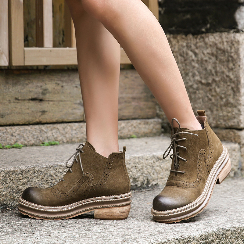 Platform Lace Up Women Booties Natural Cow Leather Lady Hole Design Boots Block Heel Solid Female