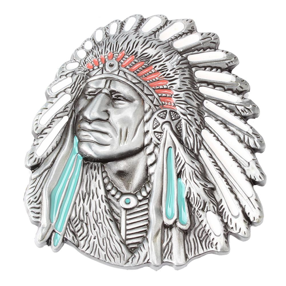 Vintage American Native Indian Chief Feather Western Badge Alloy Belt Buckle Jeans Jewelry Accessories