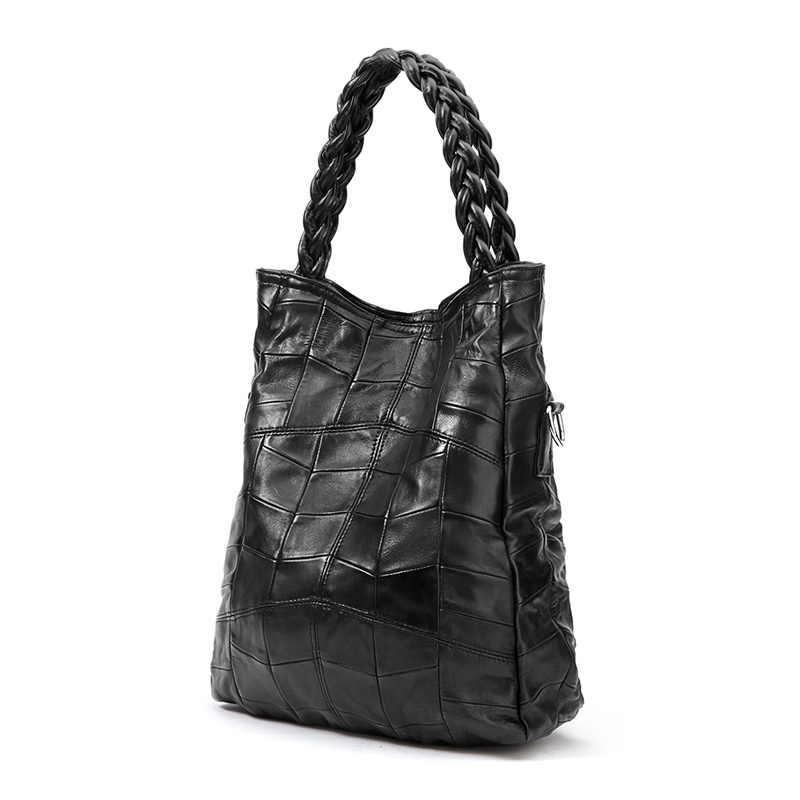 ... NIGEDU Brand Genuine leather women handbag lambskin Women s messenger  Bags real sheepskin big bag patchwork Shoulder ... 0ce1d6f371764