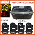 4pcs/lot  road case packing for 130w led 4 in 1 DMX mini moving beam head light RGBW light for music