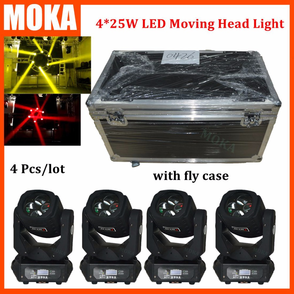 Paquete de 4 unids/lote de caja de Camino para 130w led 4 en 1 DMX mini Luz de cabeza de haz móvil RGBW luz para música