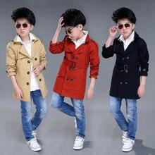 Тренч для мальчиков Новинка года, верхняя одежда для мальчиков детская ветровка, Крутое Детское пальто длинное пальто manteau enfant Garcon, Детское пальто