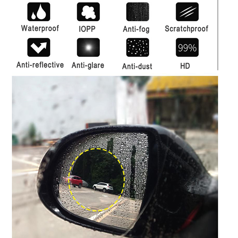 2pcs Car Rain Film Rearview Mirror Protective Film Anti-glare Waterproof Rainproof Car Mirror Film Side Window Rainproof Film