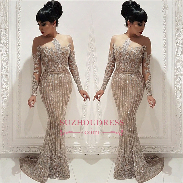 Luxury Beading Crystal Prom Dresses Long Illusion Long Sleeve Mermaid Formal Party Dresses with Belt Arabic Vestidos De Gala