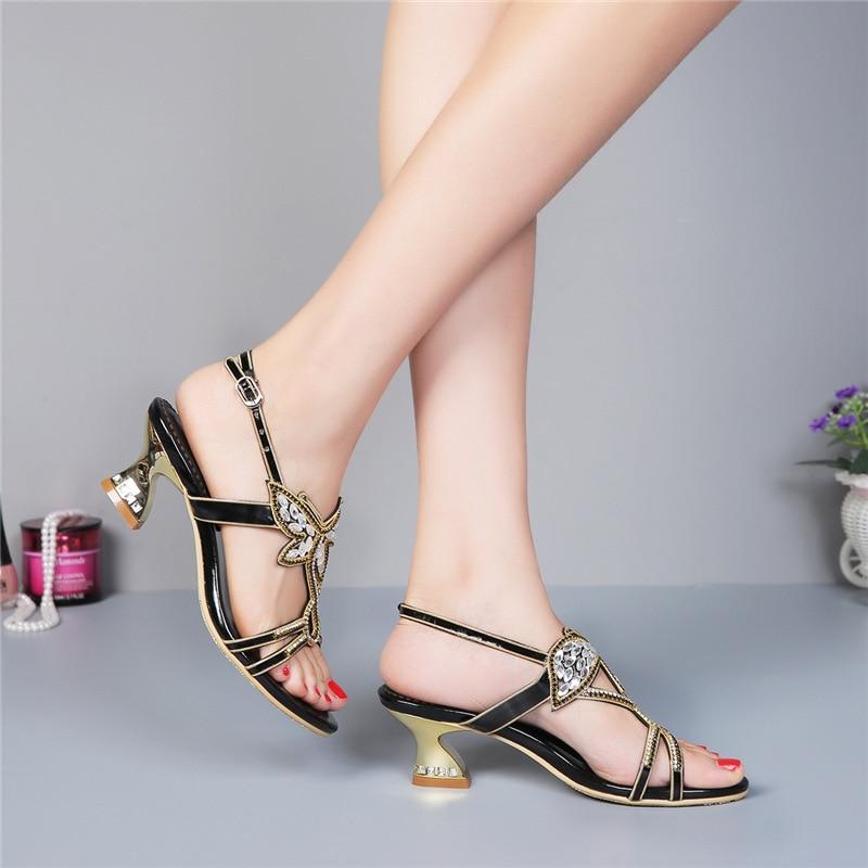 De Tacón Verano Gruesos Negro Cristal Señoras Zapatos Sandalias Alto Diamantes Tacones 2019 aqtpwUw