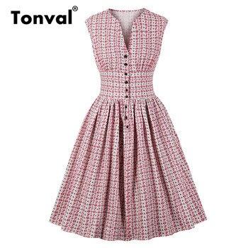 10f8a3e0b Tonval flor impresión Rosa cintura alta Vintage vestido de las mujeres solo  Breasted V cuello camisa vestido Casual 2019 vestidos de verano