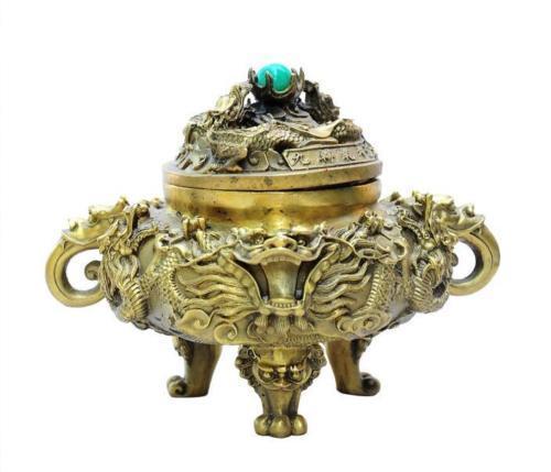 Encensoir de brûleur d'encens de Statue de tête de Lion de Dragon en laiton pur de palais chinois