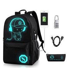 Аниме светящийся школьный рюкзак для мальчика студенческий рюкзак через плечо до 15,6 дюймов с usb зарядным портом и замком Школьная Сумка Черный