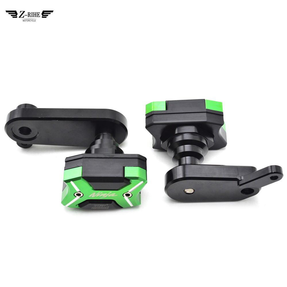 цена на (NINJA) logo Motorcycle Frame Crash Pads Engine Case Sliders Protector for Kawasaki NINJA250 Z250 NINJA 300 Z300 2006 2007 -16