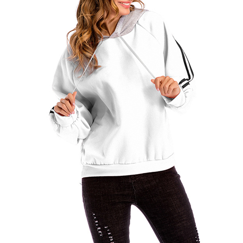 Women Hoodies Sweatshirts Hooded Solid Striped Pullovers Long Sleeve Casual Autumn Winter Wear Tops Clothes Warm White -
