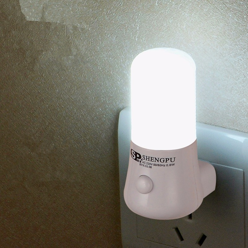 SXZM 1W Night Lamp 6 LED Night Light Bedside Lamp Wall Socket Lamp EU/US Plug AC 110-220V Home Decoration Light For Baby Gift