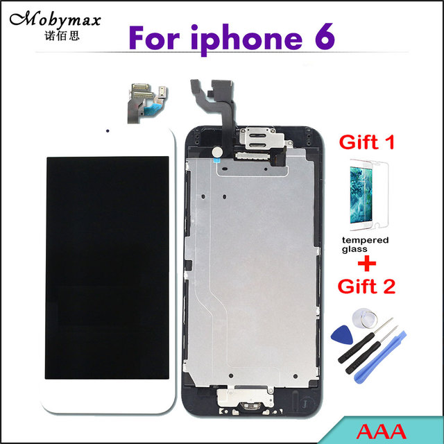 """Mobymax Pantalla For iPhone 6 A1586 A1549 4.7"""" Full Assembly Touch Screen Digitizer Display Replacement+Home Button+Front Camera"""