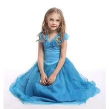Cinderella Princess Girls Dress Cosplay Costume Princess Blue Gown Kids Party Halloween Birthday Clothes H534 girl princess dress rapunzel dress up baby snow white belle cinderella cosplay costume for party birthday halloween