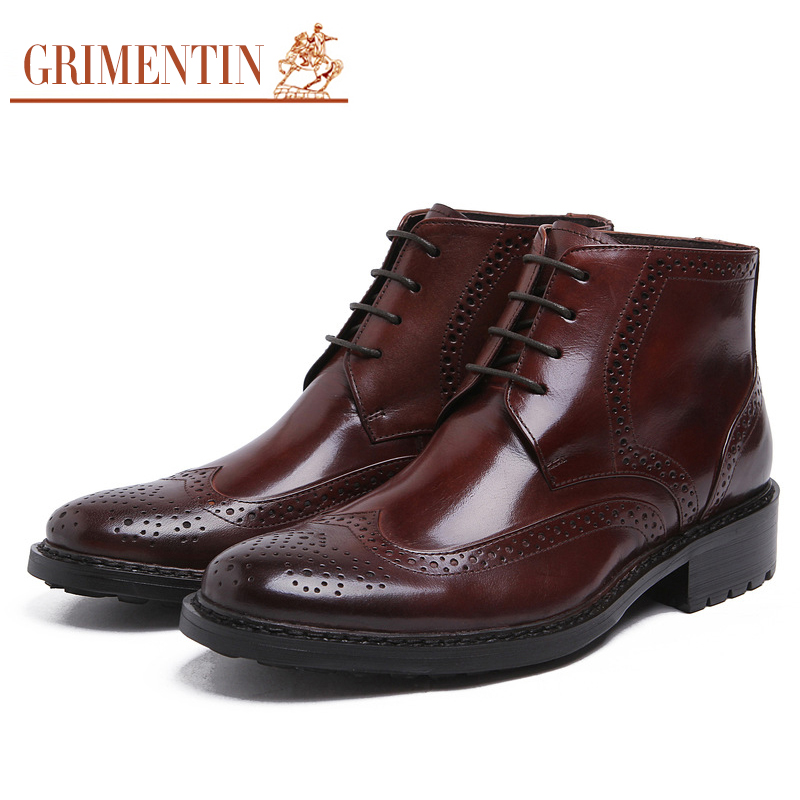 grimentin brand top quality mens ankle boots genuine