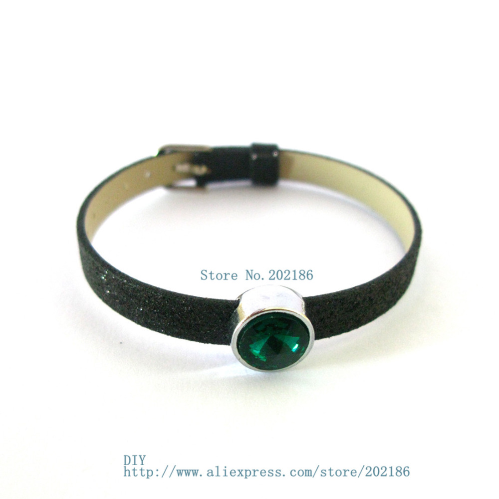 10pcs 8mm birthstone--May-Dark green slide Charms Jewelry Finding fit 8mm wristband pet collar key chain