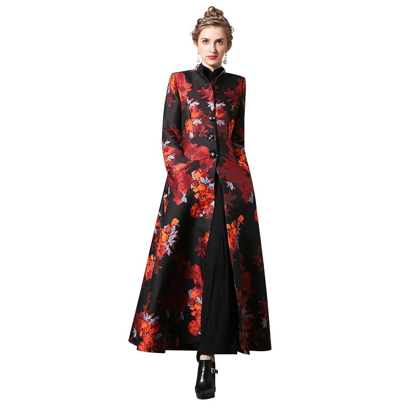 Autumn Winter Jacquard Embroidery Flowers Long Coat Luxury Trench Women Outwear 6392
