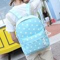 Новый женщины холщовый мешок mochilas mujer Мода дамы Горошек рюкзаки школьные сумки для подростков девочек 2016