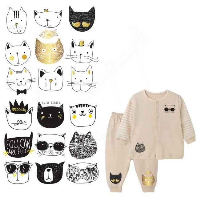 9 видов конструкций/Combo мультфильм черный граффити милый кот лицо детей Костюмы наклейки DIY Нашивки термонаклейки- уровень моющиеся