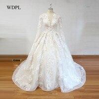 Retro Style Wedding Dress Sheer Bridal Gowns Dubai Mariage Vestido De Noiva Wedding Dresses Romance Bridal Gown Full Sleeves