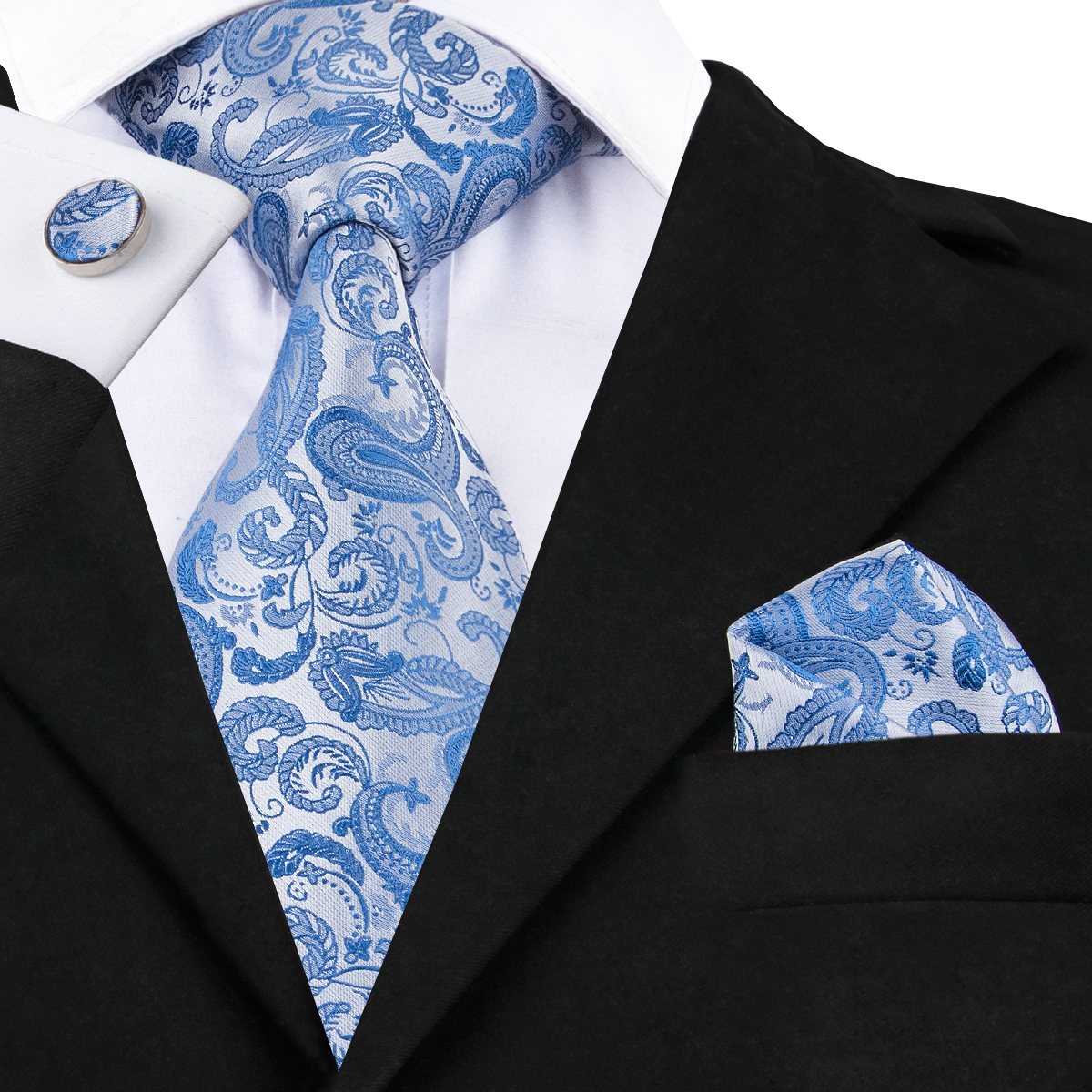 C-1618 Hi-Tie Light Blue Floral Necktie Hanky Cufflinks Set 100% Hand-Made Silk Jacquard Woven Ties for Mens Gift
