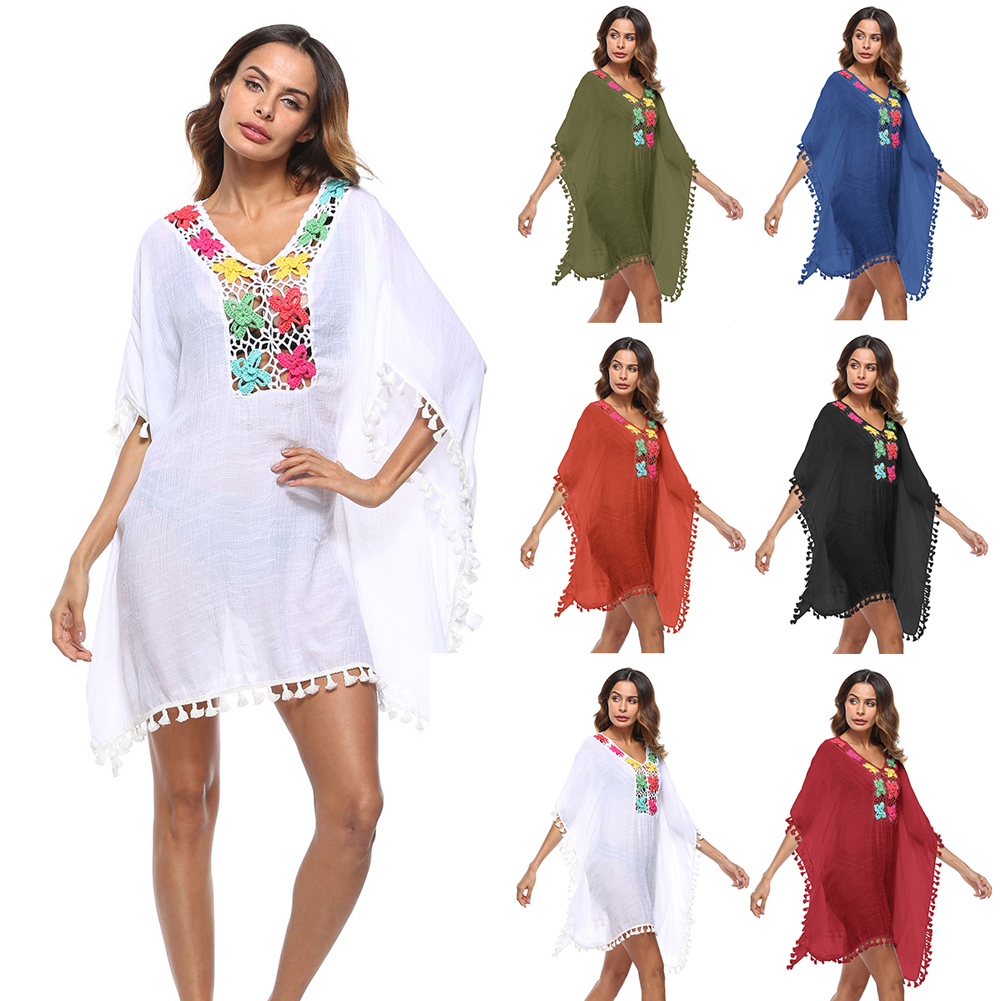 Shieny 2019 Women Sexy Tassel See-Through Lace Hollow Out Crochet Tunic Cover Ups Swimwear Summer Bikini Cover Up Beach Dress