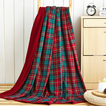 Cotton Yarn and Terry Blanket 150*200cm 200*230cm for Full -Queen Beds Red and Green / Blue and Green British Plaid