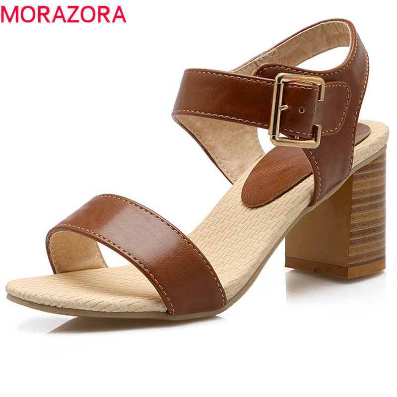 MORAZORA 2018 large size 34-43 new fashion high heele sandals women shoes simple buckle comfortable ladies summer shoes memunia 2018 new arrive women summer sandals sweet bowknot casual shoes simple buckle comfortable square heele shoes woman