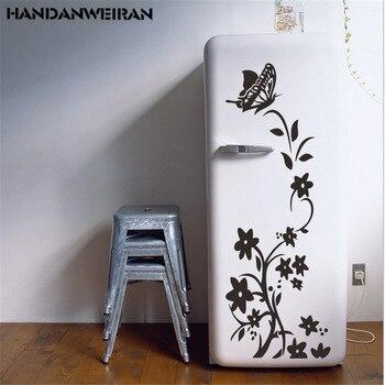 2020 nuevo Adhesivo de pared de flores de mariposa pegatinas de nevera de ratán pegatinas de pared de decoración del hogar a prueba de agua para la puerta