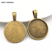 Promotion 100PCS inner:20mm Alloy/Metal Antique Bronze Blank Pendant Base Settings Jewelry Accessory Findings