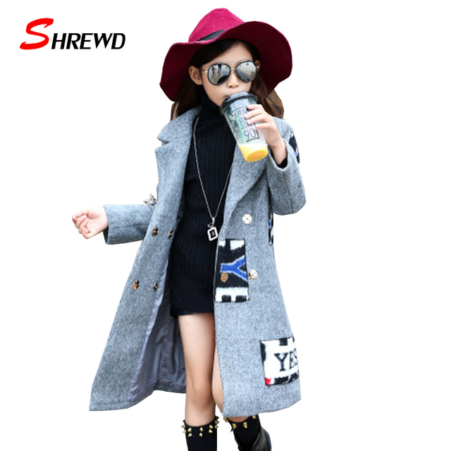 Girl Coat Winter Wool 2017 New Fashion Letter Kids Girl wool Coat Long Sleeve Warm Simple Children Clothing 5607W