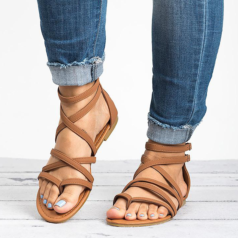 Women Sandals Rome Style Summer Shoes Woman Gladiator Sandals With Zip Flip Flop Female Flat Sandals Lady Beach Sandalias Mujer calzado de mujer 2019