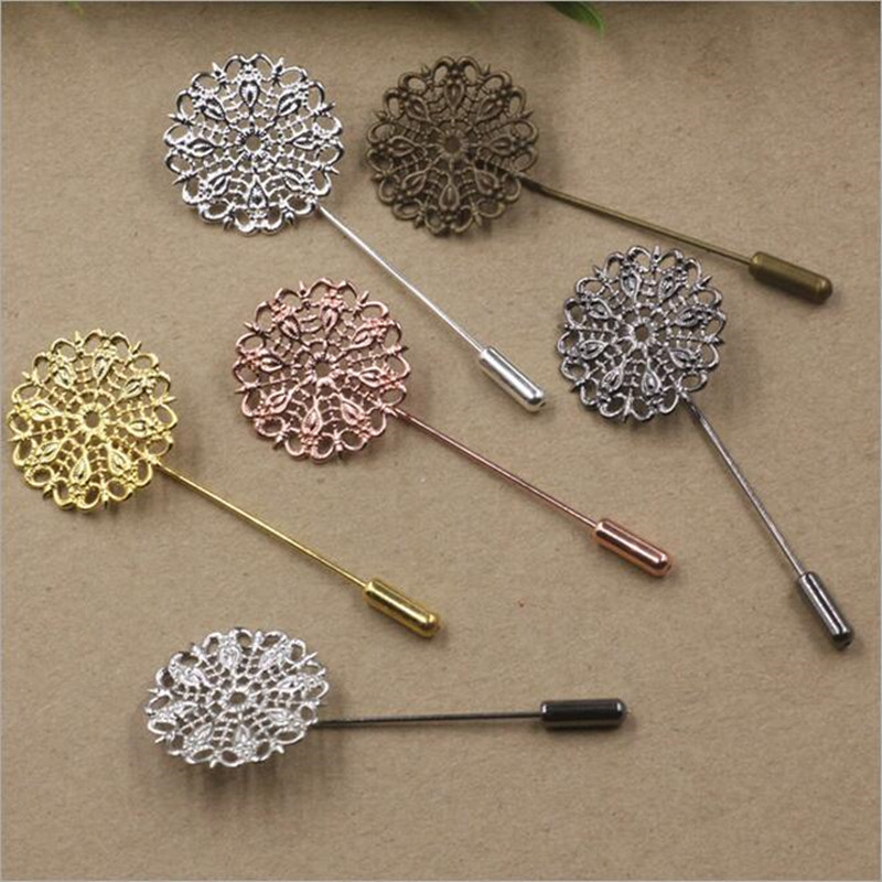 10pcs/lot Brooch Lapel Pin Blank Setting Base Women Shawl Cape Scarf Findings Connector Safety Hijab pins Needles Stoppers Z153