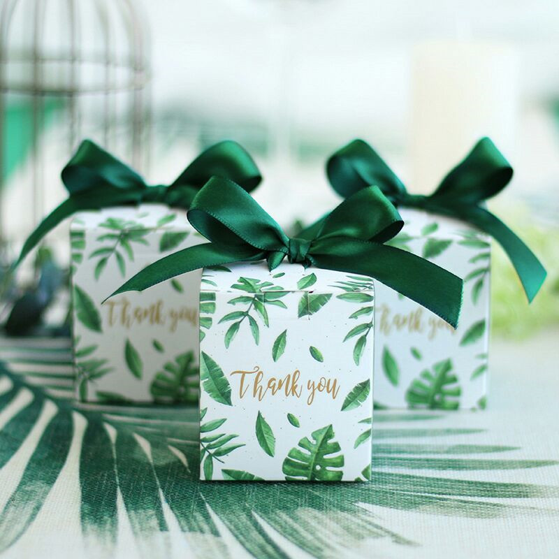 Sen Department Green Creative Square Candy Box Wedding Favor Chocolate Box Party Supplies Box Christmas Gift Box Baby Shower
