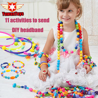 300pcs Pop Beads Children Cordless Snap Together Toy Jewelry Necklace Ring Bracelet Kids Making Kit Craft