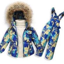 Высокое Качество детские мальчики девочки зима капюшоном вниз пальто шорты набор девочка мальчик дети теплый гусиный пух одежда наборы Дети лыжный костюм