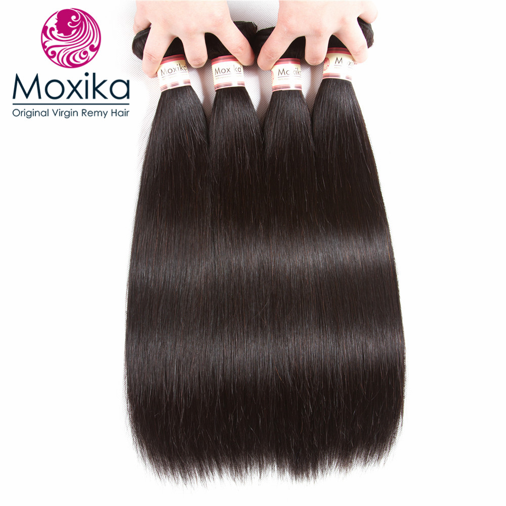 Moxika Hair 100 Peruvian Hair 4 Bundles Remy Straight Human Hair bundles Extensions 4pcs lot 8