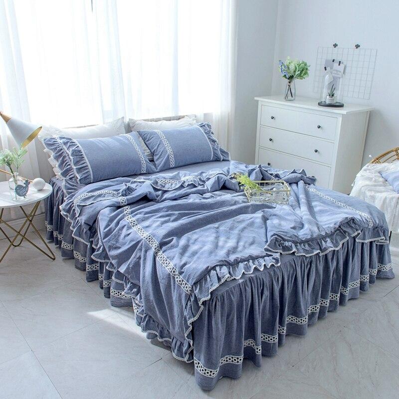 Light Blue Bed Skirt.Luxury Bedding Set Light Blue Ruffle Lace Duvet Cover Bed Skirt Bedspread Princess Pillowcase Twin Full Queen King Bedclothes