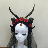 Ram Sheep Horns Headband with Moon Detail Punk Flowers Horns Headdress Gothic Headpiece