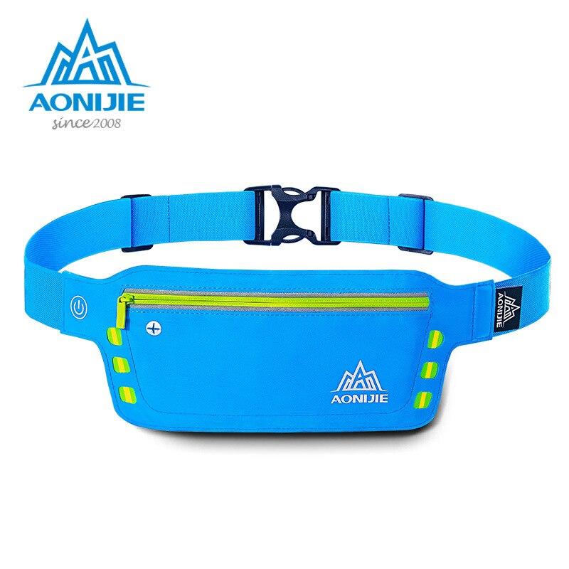 AONIJIE Running Waist Bag Flashing Sport Bags Water Resistant Waist Pack Ultralight Running Belt Bag for