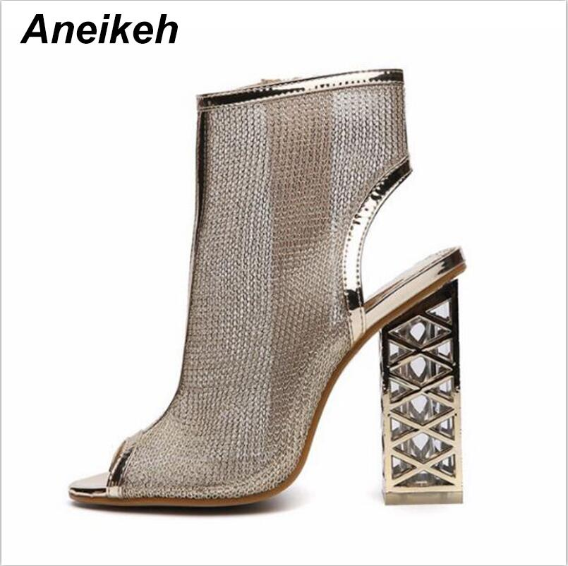 c34037b5ba Aneikeh Summer New Sexy Gladiator Sandals Peep Toe Zip Shoes Golden Bling  Crystal With Hollow Out Heel Pumps Sandals Women Boots