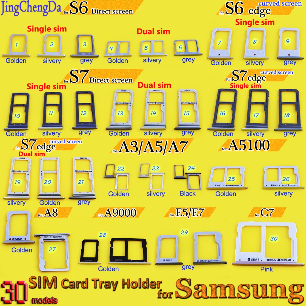 Dual/single SIM Card Tray Slot Holder for Samsung Galaxy A3 A310 A310F/A5 A510/A7 A710 A5 A7 A5100 A8 A9000 A9100 E5 E7 C7