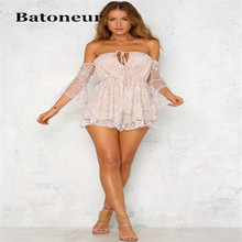 5dddebc68d2 Sexy Women Summer Gold Sequins Short Jumpsuit 2018 Elegant Halter Bandage  Romper Backless Bodycon Strapless Mesh Casual Playsuit