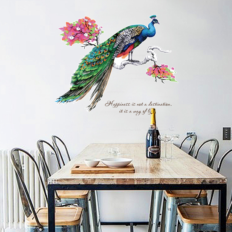 Creative peacock large wall stickers home decor living ...