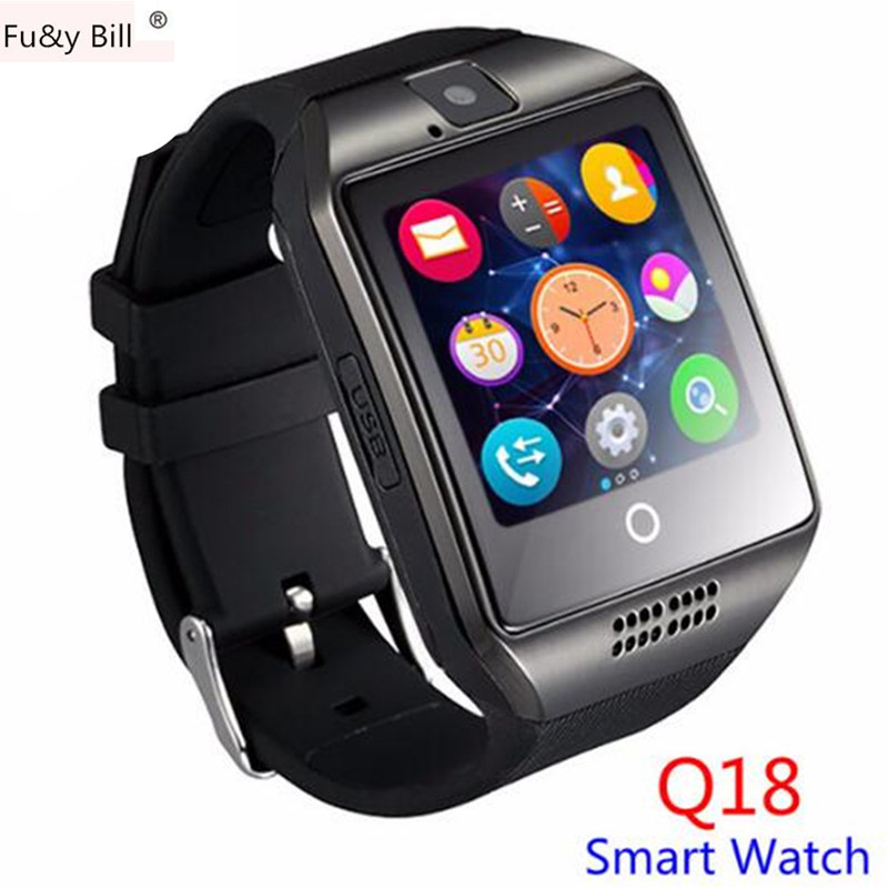 Q18 Passometer Smart Watch With Touch Screen Camera TF Card Bluetooth Smart Watch for Android IOS Phone PK DZ09 U8 GT08 A1 Q18s