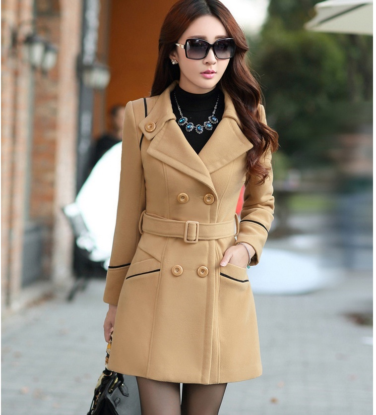 YAGENZ M-3XL Autumn Winter Wool Jacket Women Double Breasted Coats Elegant Overcoat Basic Coat Pockets Woolen Long Coat Top 200 9