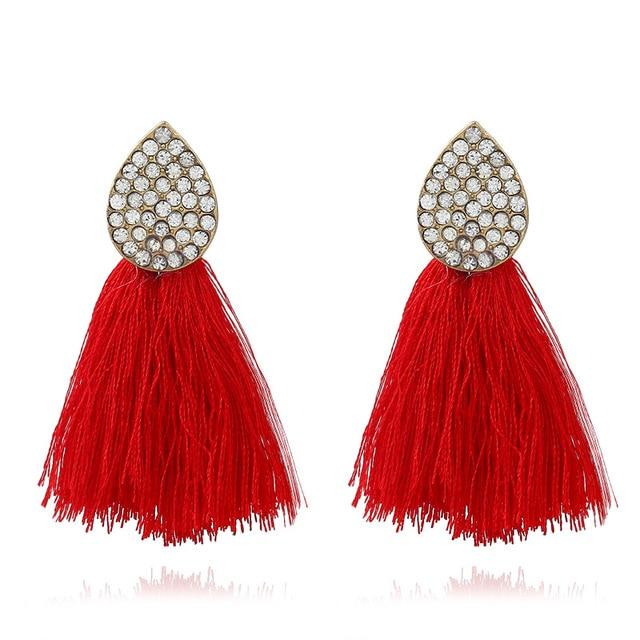 Lzhlq Red Color Boho Ethnic Tel Earrings For Women 2019 Long Bohemian Female Crystal