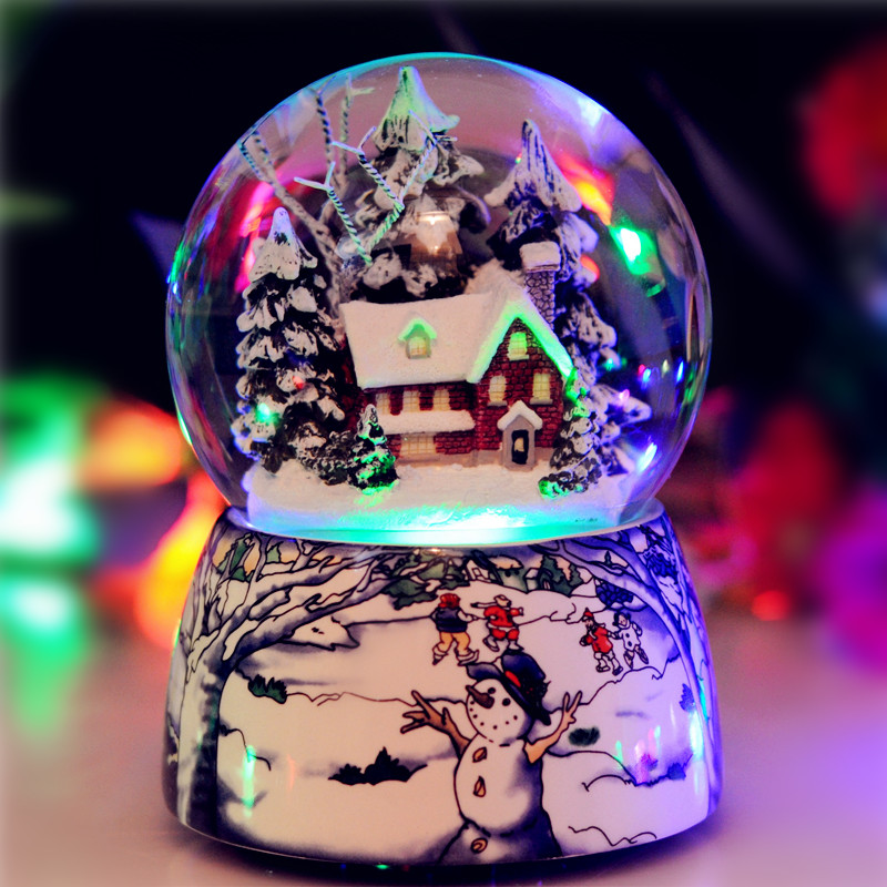 Snowflake Crystal Ball Music Box To Send Male And Female Friends Girls Birthday Gift Ideas For Christmas In Statues Sculptures From Home Garden On