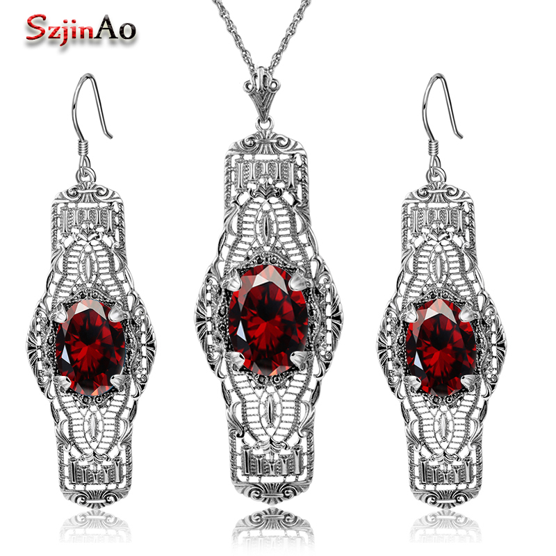 Szjinao 925 Silver Sets Wedding Costume Accessories Garnet Bridal Earrings /Pendant Jewelry Sets For Brides WholesaleSzjinao 925 Silver Sets Wedding Costume Accessories Garnet Bridal Earrings /Pendant Jewelry Sets For Brides Wholesale